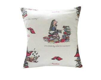 "Designer 16"" childrens story book roald dahl red matilda cushion cover"