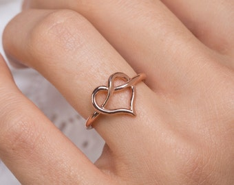 Love Knot Ring , Heart Knot Ring Infinity Heart Ring , 925 Sterling Silver ( Big )