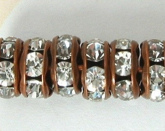 Bead, Rhinestone Rondelle Spacer Copper Crystal 6mm 6 Pc. C20
