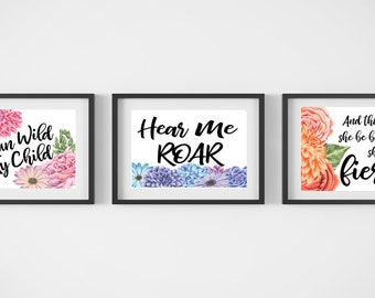 Nursery art - set of three bright floral prints