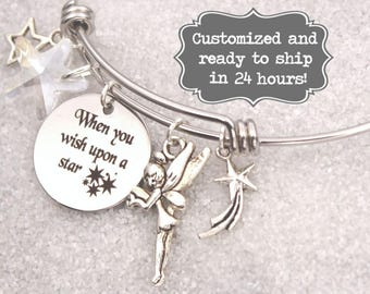 Tinkerbell - When You Wish Upon A Star Bracelet DISNEY Inspired, Tinkerbell, Star Bracelet, Custom Name Charm Bracelet, Disney Present Gift