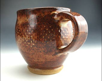 limited edition MUG | only one made, deep red burnt sienna brown, brown speck clay, vase shape, comfortable hold