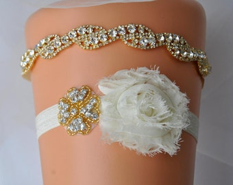 Gold Bridal Garter Wedding Garter gold Bridal Crystal Wedding Garter Set Ivory Shabby Chic Bridal Garter Rhinestone Garter Toss Sash Belt