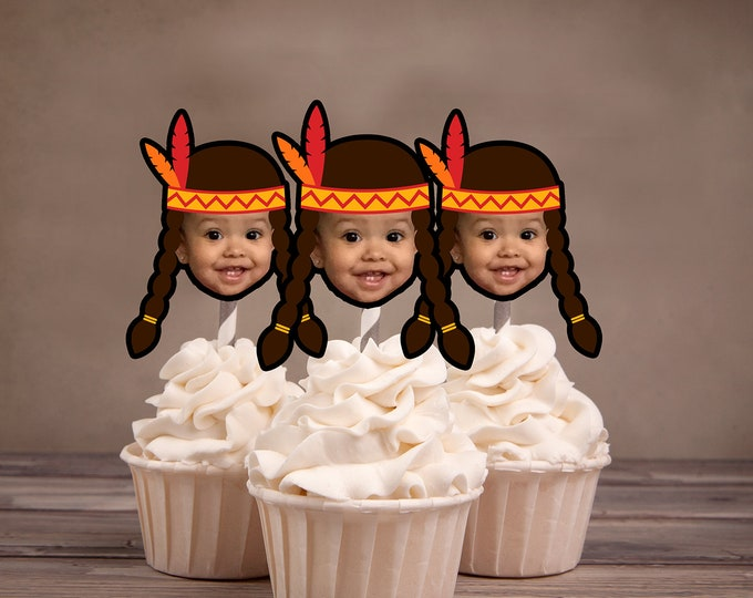 Photo Cupcake Toppers, Indian, chief, western,, first birthday, Thanksgiving, pow wow, party,Western  birthday, tribal theme,  Digital File