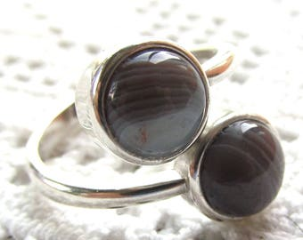 Sterling Silver Ring with Two 8mm Botswana Agate Cabochons