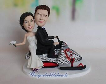 sledge wedding cake topper, sledge, sled, blowmobile, snowmobile, sledge bobbleheads, cake topper look like you, wedding figurine