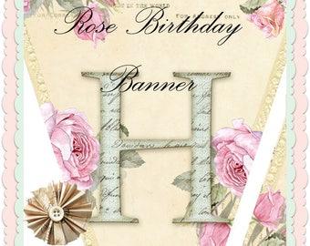 NEW Shabby Rose Printable Birthday Banner