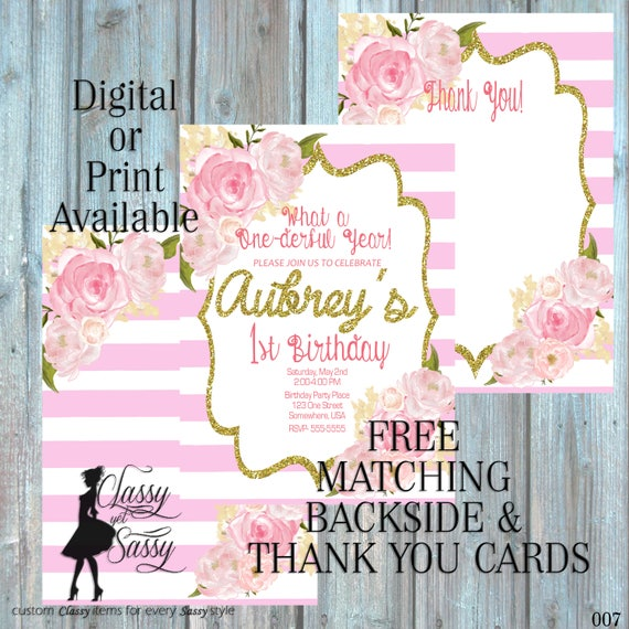 Pink Birthday Party Inviation, Elegant Birthday Party, Pink Glitter Party Invitation, DIY Print Party Inviation, first Birthday invite 007