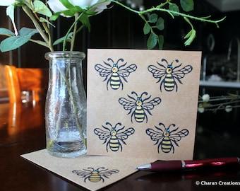 Hand Block Printed Card, Indian Theme Card, Hand Painted Kraft Card- Honey Bees