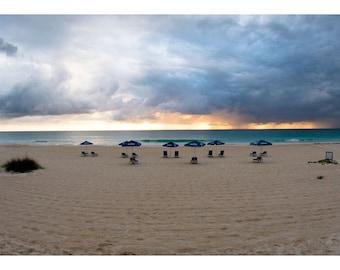 Caribbean Beach photo,Morning Umbrellas Harbor Island,Beach Sunrise Photo,Beach umbrellas,Wall Art, Home Decor, Dramatic Photo, Nature Photo