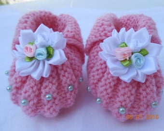 Booties 0/3 months decorated with Pearl