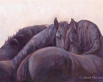 Black horses art print on canvas-giclee print- 'Intertwined'