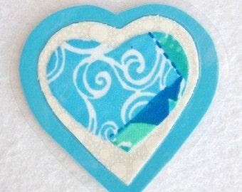 Blue Heart Brooch, Fabric Heart Brooch, Blue and White Heart, Sweetheart Pin, Fabric Art Pin