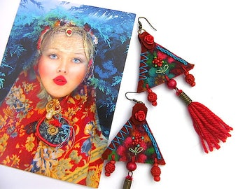 Bohemian textile earrings, folkloric russian style, long earrings