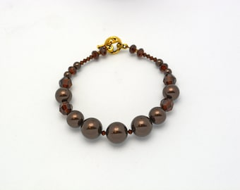 Half Off Jewelry Chocolate Brown Swarovski Bracelet. Classy, Unique, Handmade Jewelry. Mocha Brown Swarovski Crystals & Brown Glass Pearls.