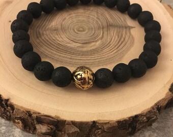 Lava stone bracelet Metal ball-made of real black lava beads