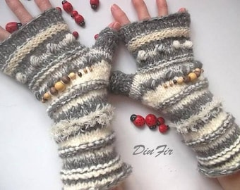 Women Size L 20% OFF Ready To Ship Gloves Bohemian Accessories Boho Hand Knitted Fingerless Mittens Warm Wrist Warmers Winter Striped 1249