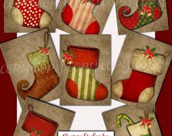Christmas Stocking Tags - ACEO - Digital Download - Printable  Digital Collage Sheet