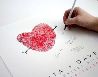 Wedding Guest Book Thumbprint Guestbook Alternative Fingerprint Signature Wedding Sign Reception Decor Guestbook Ideas Unique Personalized