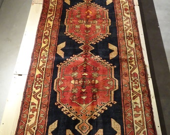 "Vintage Persian Rug 1940's SARAB 3' 3"" x 9' 7"" Handmade, Hand-knotted, Natural Dyes, Bohemian, Boho Chic, Made in Iran 814m"