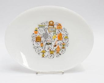 "Anchor Hocking Homestead Home Sweet Home Pattern Oven Proof Dinnerware Over Milk Glass 12"" Platter"