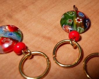 Colorful Milliflori Bead Stitch Markers set of 6