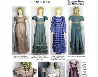 LM138 Ladies' Back Closing Regency Gown with three neck options and five sleeve options. LAUGHING MOON PATTERN