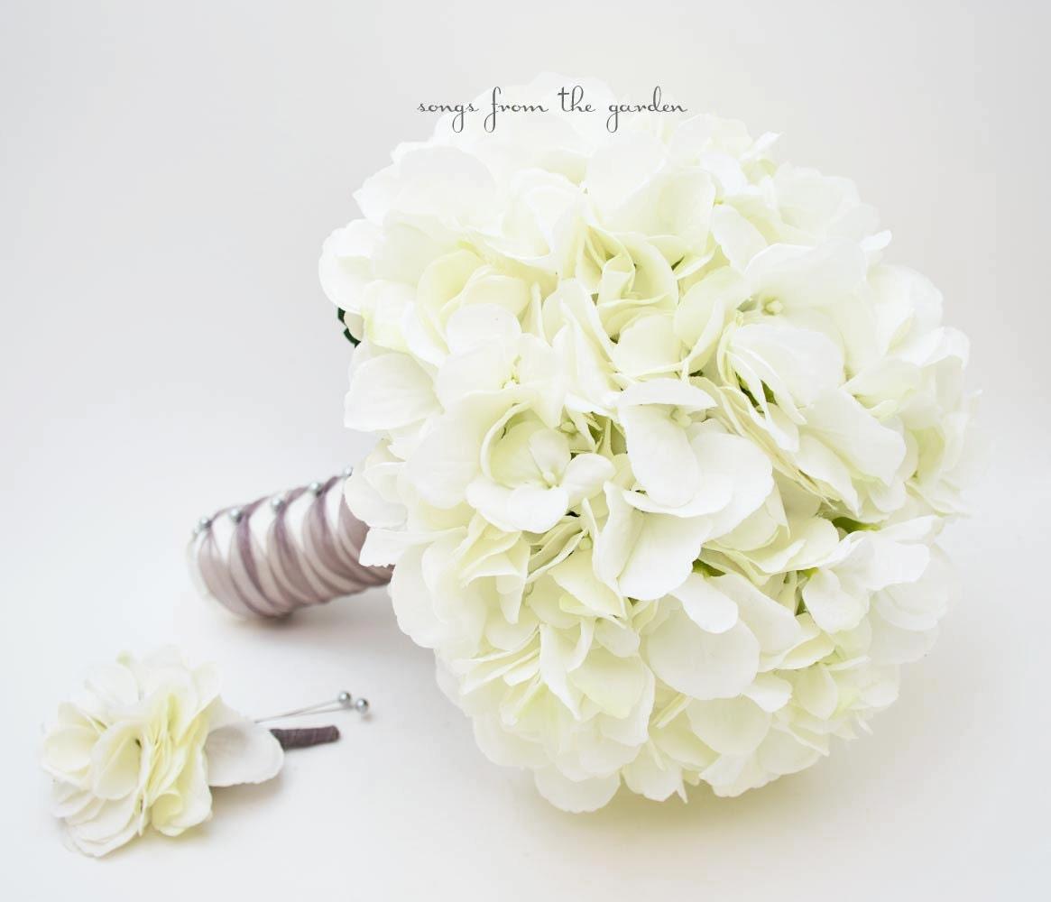 Wedding Bouquet White Silk Hydrangea Grooms Boutonniere