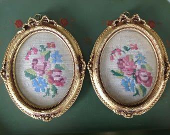 Set of 2 Vintage Framed Needlepoint Flowers