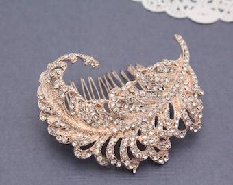 Rose Gold Wedding headpiece Rose Gold Wedding hair accessory Rose Gold Bridal hair piece Wedding headpiece Wedding hair comb Vintage Bridal