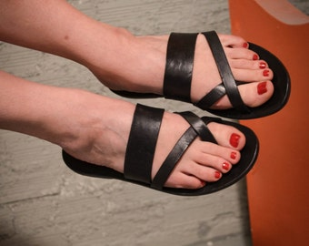 Double stripe X Sandals,Handmade Leather Sandals,Black Sandals,Summer shoes,Leather Sole