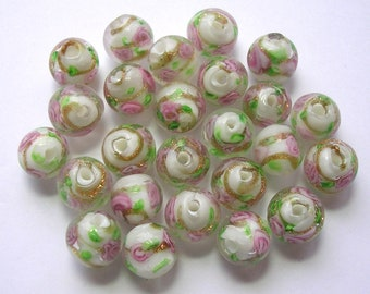 White Lampwork Beads Pink Roses Gold Foiled 25 Pcs 10mm Glass Beads