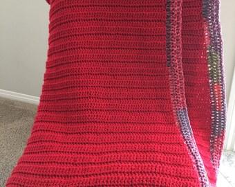 Red Crocheted Blanket 6' x 3.5'