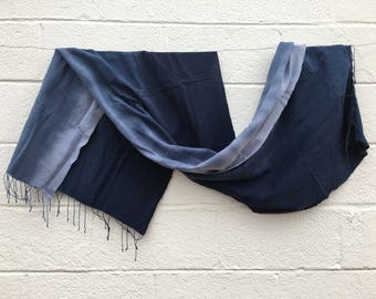 Handwoven Ombre Blue Cotton Scarf from Ethiopia