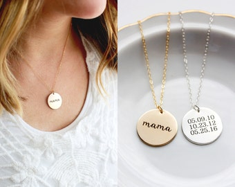 "7/8"" Engraved Disc Necklace - Personalized Gift for Mom, Disc Necklace, Date Necklace, Personalized Gift for Her, Wedding Initial Date Gift"