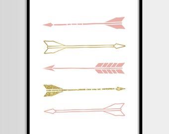 Arrows print, Nursery art, Kids room decor, Baby girl room, Pink, Gold foil print, Printable art, Digital poster Instant Download 8x10