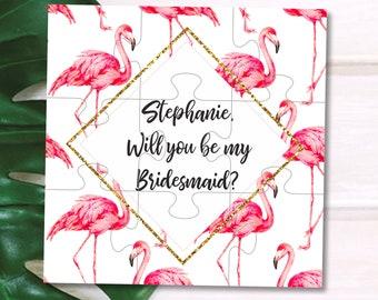 Flamingo Bridesmaid gift Flamingo Bridesmaid proposal Flamingle proposal card Flamingo wedding invitation Tropical wedding Bridesmaid puzzle