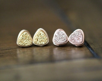 Gilded Druzy Stud Earrings, Triangle Geometric Minimalist Wire Wrapped, Gold or Rose Gold