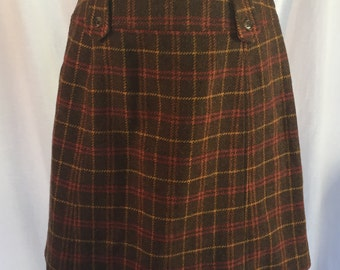 Vintage plaid wool mini skirt