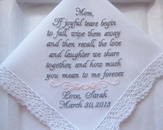 Mother of the Bride Custom Embroidered Personalized Wedding Handkerchief, Wedding Hankies, Wedding Handkerchiefs