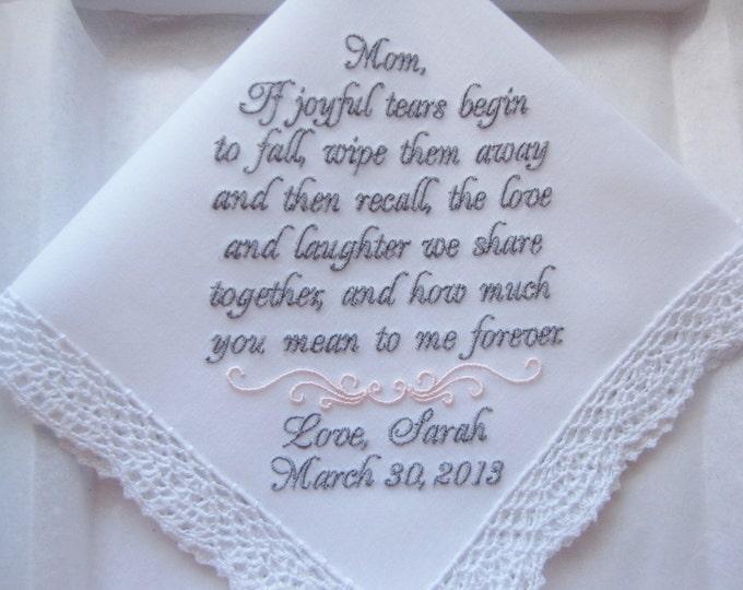 Mother of the Bride Wedding Handkerchief, Wedding Hankies, Wedding Handkerchiefs