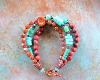 Southwest Turquoise bracelet, Picasso rustic boho copper bracelet, boho rustic earthy bracelet, southwest Jasper bracelet, Turquoise
