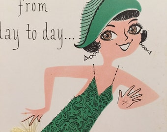 Vintage Birthday Card Women Roaring 20s Charlston Unused NOS