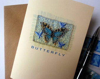 BUTTERFLY, Greetings card, Embroidered, Free UK postage, Textile onto paper, Blank for your own greeting.