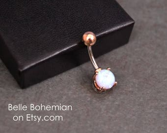 Belly Button Ring Fire Opal Light Blue Fire Opal Rose Gold Opal Belly Ring Opal Belly Jewelry 14G  Opal Navel Ring