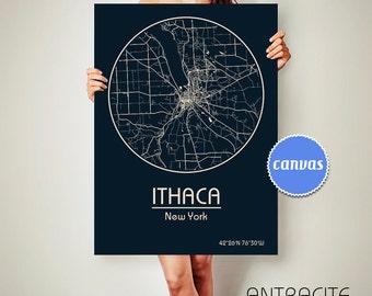 ITHACA New York CANVAS Map Ithaca New York Poster City Map Ithaca New York Art Print Ithaca New York poster Ithaca New York ArchTravel