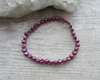 Purple Freshwater Pearl Bracelet - Stretchy Bracelet - Natural Pearl Jewellery - Elasticated Pearls #11