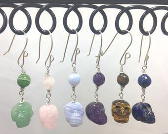 Gemstone Skulls,  Skull Earrings, Gemstone Earrings, Skull Gemstones, Rose Quartz Skull, Amethyst Skull, Lapis Skull, Blue Lace Agate Skull