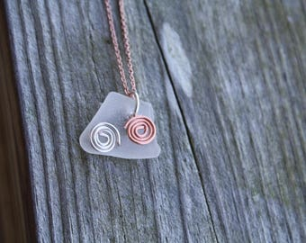 Sea Glass Necklace with Silver and Copper Accents
