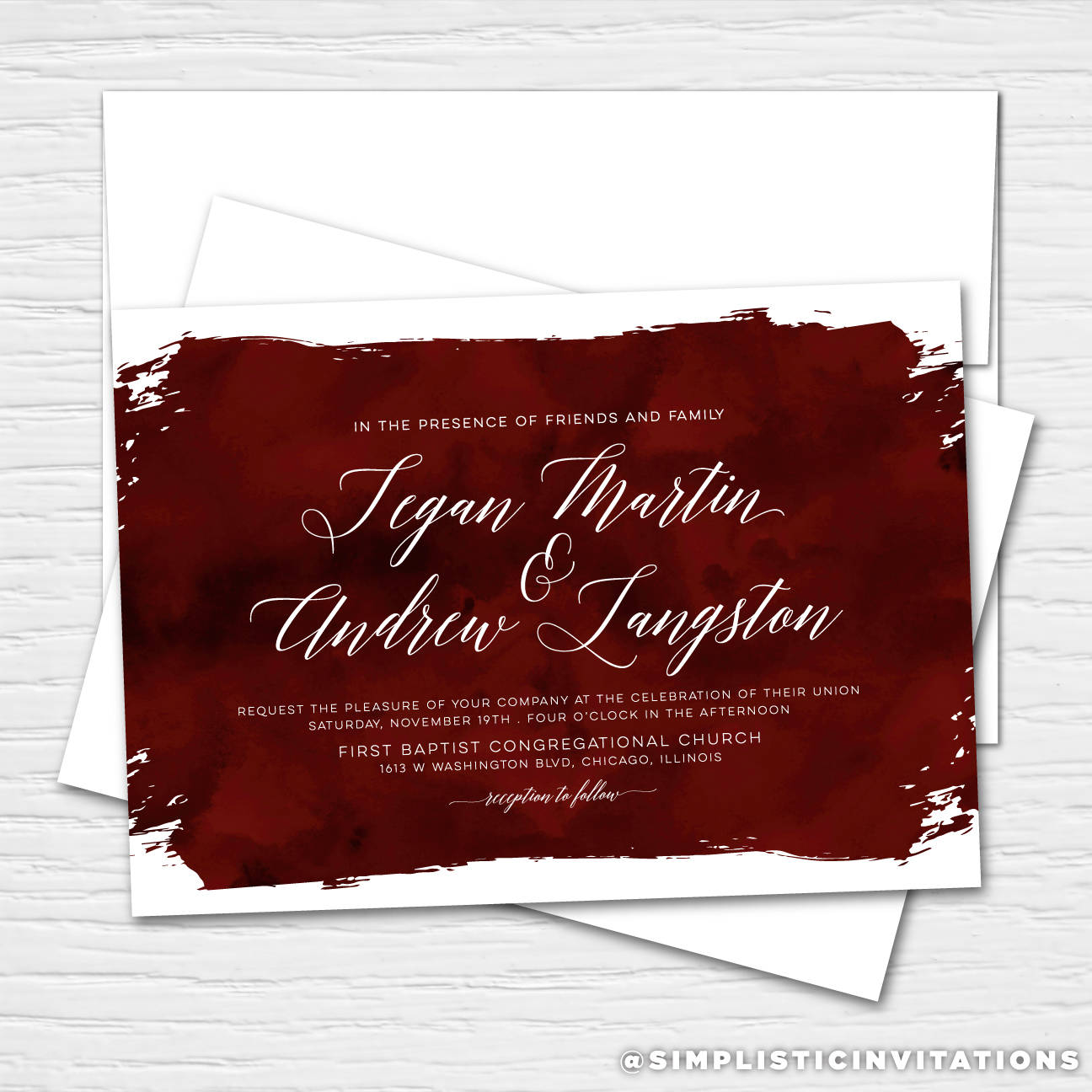 Tegan Burgundy Watercolor Clean Simple Chic Customizable